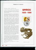 Feuillet OR  Du N° 2302  Bande - Dessinée : SPIROU  De Franquin  Obl. Charleroi 08/10/1988 - FDC