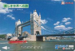 Carte Prépayée Japon - Site ANGLETERRE - PONT - LONDON TOWER BRIDGE - England Rel Japan Prepaid Serie Metro Card - 170 - Landscapes