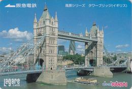 Carte Prépayée Japon - Site  ANGLETERRE - PONT - LONDON TOWER BRIDGE - England Rel Japan Prepaid Lagare Card - 171 - Landscapes