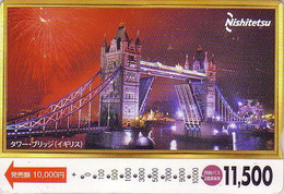 Carte Prépayée Japon - ANGLETERRE - PONT - LONDON TOWER BRIDGE - England Rel Japan Prepaid Card - Série Site Nishi 172 - Landscapes