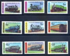Nicaragua 1978 MINT Set 9 Stamps - Train Locomotives Railroad - Nicaragua