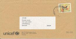 Tanzania Unicef Cover Sent To Denmark 2007 Single Franked Butterfly - Tanzania (1964-...)