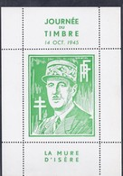 Bloc De Gaulle La Mure D'isere Draim Journee Du Timbre 1945 Ttb - Libération