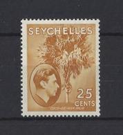 SEYCHELLES....KING GEORGE VI.(1936-52)..25c...SG141.....(CAT £50..)...MH.. - Seychelles (...-1976)
