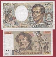 """France 4 Billets --200 Fr """"Montesquieu"""" 1985--TTB+--100 Francs """"Delacroix-1979/82/86 ---SUP Lot N °1 - Sin Clasificación"""