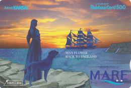 Carte Prépayée Japon - Angleterre - BATEAU MAYFLOWER - Femme Chien - Woman Dog Sunset ENGLAND Rel Japan Rainbow Card 175 - Boats