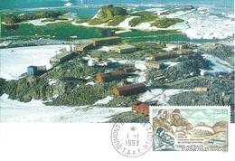 TAAF-Dumont D'Urville-T.Adélie: Carte 1er Jour Avec Timbre Poste Aérienne N°126 Biologie Animale - 01/01/1993 - Lettres & Documents