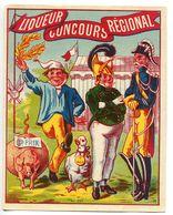 Étiquette Ancienne Glacée - Liqueur Concours Régional Grand Prix * Soldat Militaire Paysan Cochon Oie - Labels