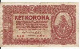 HONGRIE 2 KORONA 1920 VF P 58 - Hungary