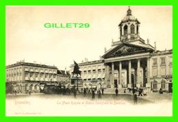 BRUXELLES, BELGIQUE - LA PLACE ROYALE ET STATUE GODEFROID DE BOUILLON - ANIMÉE - ED. V. G. - - Places, Squares