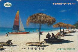 Carte Orange Japon - SAIPAN - Plage Bateau Voilier - MICROBEACH Ship - Japan Prepaid Card - Série JR Site Monde - Japan