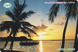 Carte Orange Japon - GUAM - Plage Palmier - Beach Palm Tree Japan Prepaid Card USA Related  - Série JR Site Monde - Japan