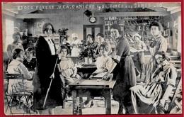 RARE CPA CARTE PHOTO Caron (Etaples) 62 CAMIERS - Foyer Des Dames Union Franco-Américaine BILLARD - France