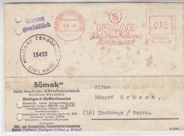 Freistempel  Von SÜMAK .. Aus STUTTGART-ZUFFENHAUSEN 6.4.46 Zensur / Stockflecke - Bizone
