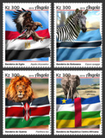 Angola   2019  African Fauna   Elephant  ,zebra , Lion, Eagle  S201905 - Angola