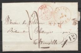 """LAC Càd VIRTON /6 AOÛT 1842 Pour Château De Blettange Par THIONVILLE - Càd """"BELG./7 AOÛT 1842/ THIONVILLE"""" - Griffe """"B.1 - 1830-1849 (Belgique Indépendante)"""