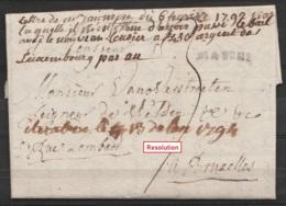 """L. Datée 6 Février 1792 De MARCHE Pour BRUXELLES - Petite Griffe """"MARCHE"""" - Port """"3"""" (concerne Un Bail - Voir Note Man. - 1790-1794 (Austr. Revol. & Fr. Invas.)"""