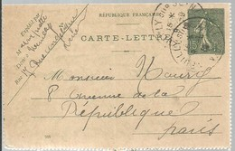CARTE  LETTRE 1917 NEUILLY - Enteros Postales