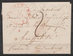 """LSC (sans Texte) Càd ST-HUBERT /11 SEPT 1837 Pour HOUFFALIZE - Port """"2"""" (au Dos: Càd T18 """"HOUFFALIZE/ 12 IX"""") - 1830-1849 (Unabhängiges Belgien)"""