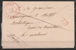 """L. (en Latin) Datée 29 Février (!) 1836 Càd DIEST /29 FEV 1836 Pour Archevêque De MALINES """"franco"""" - Griffe [P.P.] (au D - 1830-1849 (Belgique Indépendante)"""