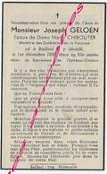 En 1959 Bailleul 59) Joseph GELOEN Ep Maria CHIROUTER 63 Ans - Décès