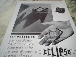 ANCIENNE PUBLICITE ECLIPSO DE LIP 1930 - Joyas & Relojería