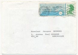 """Vignette EMA Détournée, Impression """"P.T.T. En GREVE COURAGE ET PERSEVERANCE"""" 1988 - Paris Porte D'Aubervilliers - Strike Stamps"""