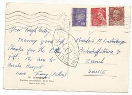 PETAIN 1FR50+60C 30C MERCURE CARTE MARSEILLE 1944 POUR SUISSE CENSURE LYY TARIF 2FR40 - Postmark Collection (Covers)
