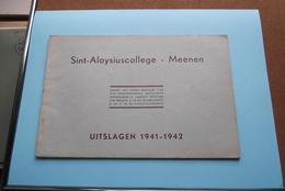 St. ALOYSIUSCOLLEGE > MEENEN ( UITSLAGEN ) 1941 - 1942 ( Zie Foto's ) ! - Diplômes & Bulletins Scolaires