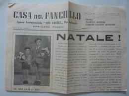"""Pieghevole Pubblicitario """"CASA DEL FANCIULLO Opera Assistenziale DON CASALE Per L'infanzia - APRICENA ( Foggia )"""" 1951 - Pubblicitari"""