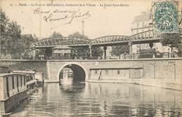 75 Paris   Le Pont Métropolitain, Boulevard De La Villette - Le Canal St Martin    Réf 6760 - Arrondissement: 07