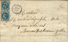 1869- Lettre De VAIGES ( Mayenne ) Cad T16 Affr. Paire N°29 Oblit. G C 4064 + E Boite Rurale De St Léger - Postmark Collection (Covers)