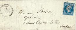 1864- Lettre D'ESSAI ( Orne ) Cad T22  Affr. N°22 Oblit. G C 1420 - Marcophilie (Lettres)