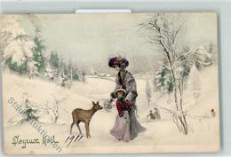 39188894 - Joyeux Noel  Mutter Und Kind Reh Mit Mistel Fuettern AK - Christmas