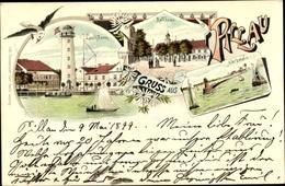 Lithographie Baltijsk Pillau Kaliningrad Ostpreußen, Leuchtturm, Rathaus, Nordmole - Ostpreussen