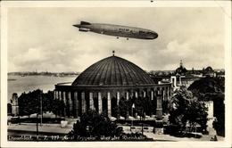 Cp Düsseldorf Am Rhein, Blick Auf Rheinhalle Und Luftschiff LZ 127 Graf Zeppelin - Avions