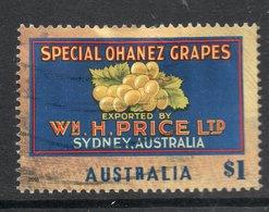 2016 AUSTRALIA NOSTALGIA FRUIT LABELS - GRAPES   $1 VERY FINE POSTALLY USED SHEET STAMP - 2010-... Elizabeth II