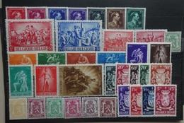 BELGIE  1944-45     Nr.  690 - 696 / 697 -98 / 699 - 700 / 701-09 / 710-15 / 713 A / 716 - 24  Postfris **    CW  47,00 - Belgien