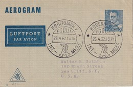 DANEMARK 1952   ENTIER POSTAL/GANZSACHE/POSTAL STATIONERY AEROGRAMME DE COPENHAGUE - Interi Postali