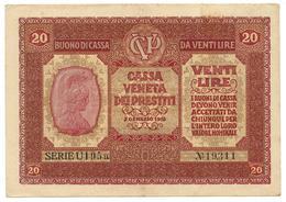20 LIRE OCCUPAZIONE AUSTRIACA VENETO CASSA VENETA DEI PRESTITI 02/01/1918 BB/BB+ - [ 3] Military Issues