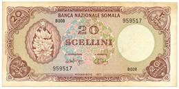 20 SCELLINI BANCA NAZIONALE SOMALA 20/07/1971 SUP- - [ 6] Colonies