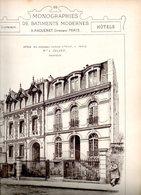 Monographies De Bâtiments Modernes N° 75 : Hôtels 4 Et 6 Rue Desbordes Valmore Paris 16 - Architecture
