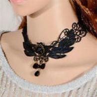Collier Dentelle Pendentif Rose Noire Perles Collier Lolita - Necklaces/Chains