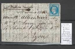 France  BALLON MONTE - 12/12/1870 - LE VILLE DE PARIS Pour Lyon - 1870 Siège De Paris
