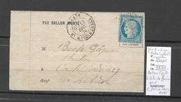 France  BALLON MONTE - 13/12/1870 - LE VILLE DE PARIS - Formule Orlandi Pour Castelnaudary - Aude - 1870 Siège De Paris