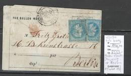 France  BALLON MONTE - 08/11/1870 - Le DAGUERRE  - Pour Berlin - Allemagne- - 1870 Siege Of Paris