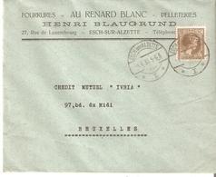 L. (Fourrures Au Renard Blanc Henri BLAUGRUND) YP. 75c. ESCH Sur ALZETTE Du 4/6/1933 V/BXL. - 1926-39 Charlotte De Profil à Droite