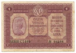 1 LIRA CASSA VENETA DEI PRESTITI BUONO DI CASSA 02/01/1918 BB - [ 3] Military Issues
