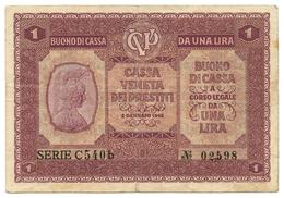 1 LIRA CASSA VENETA DEI PRESTITI BUONO DI CASSA 02/01/1918 BB - [ 3] Militärausgaben