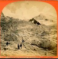 Chamonix Vers 1870 - Montée Vers Les Grands Mulets - Photo Stéréoscopique Garcin - Voir Scans - Stereoscopic